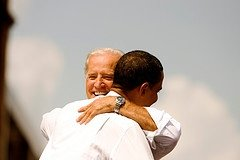 Obama hugs running mate Biden