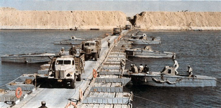 Egyptians crossing the Suez Canal. Source: Military Battles on the Egyptian Front by Gammal Hammad