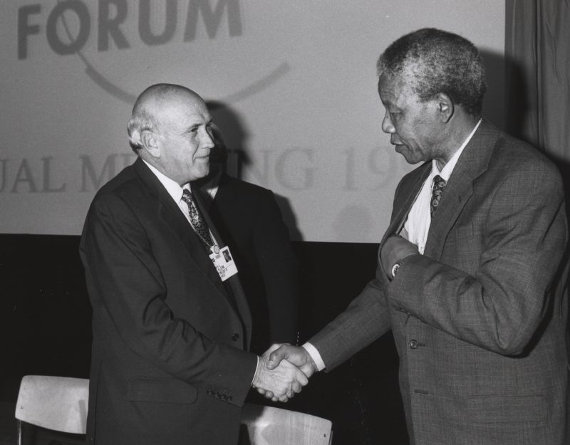Partners in peace: Mandela and de Klerk shake hands. Photo: World Economic Forum