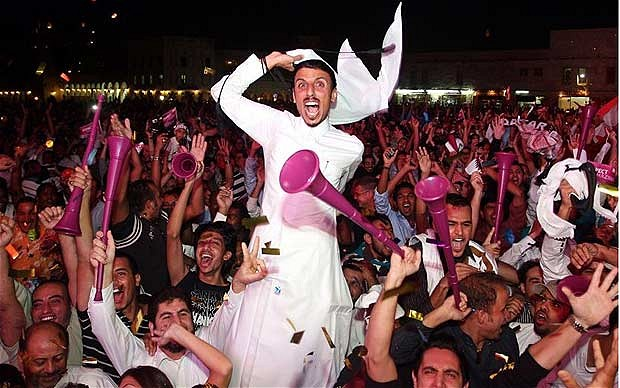 Jubliant Qataris celebrate news of 2022 win. Image: Qatar 2022 official site