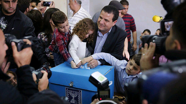 Voting for change. Joint List's Ayman Odeh casts his ballot.