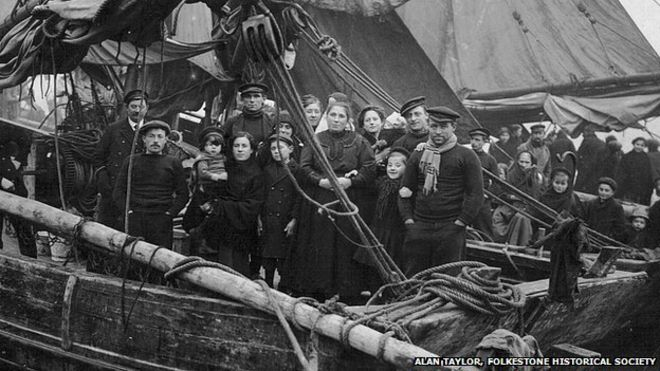 Like today's refugees, Belgians fleeing World War I often took to the sea in overcrowded boats.