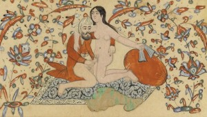 Painting from Qajar Iran, 1850-1885. http://www.islamicpersia.org/2012/09/qajar-erotic-watercolor-art.html