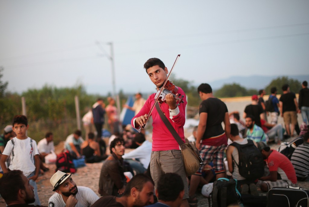 A Syrian refugee performs 'Ode to Joy' Photo: © Jure Eržen