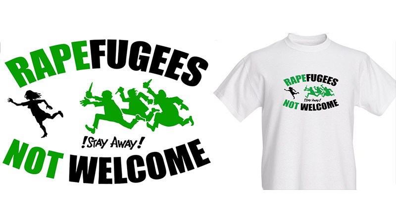This offensive cartoon has appeared at Pegida rallies and on T-shirts.