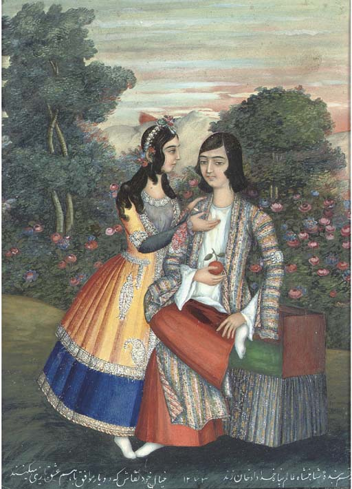 Painting by Khoda-Dad Khan Zand, QAJAR IRAN, 1856-7. http://www.christies.com/lotfinder/lot/a-young-couple-in-a-garden-by-4580055-details.aspx?pos=5&intObjectID=4580055&sid=&page=7&lid=1