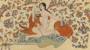 Painting from Qajar Iran, 1850-1885. http://www.islamicpersia.org/2012/09/qajar-erotic-watercolor-art.html