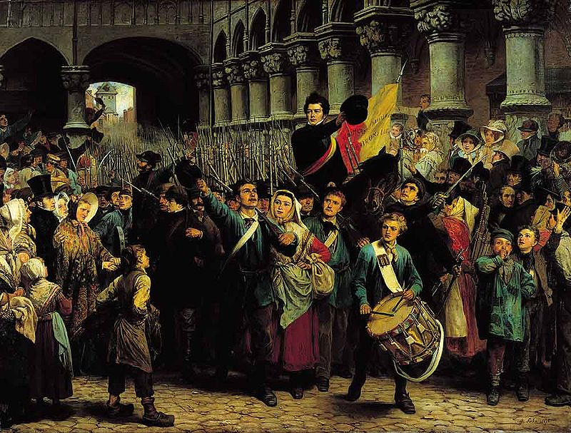 Charles Rogier leads revolutionary volunteers during the Belgian revolution against William I of the Netherlands.